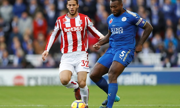 Stoke City's Ramadan Sobhi in action with Leicester City's Wes Morgan Action Images via Reuters/Carl Recine