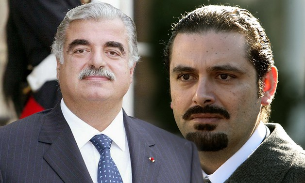 (L) Former Prime Minister of Lebanon Rafic Hariri, (R) Former Prime Minister of Lebanon Saad Hariri - Photo compiled by Egypt Today