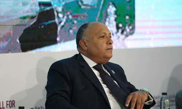 Egyptian Foreign Minister Sameh Shoukry during his participation in the WYF session on illegal immigration on November 6, 2017- Press Photo