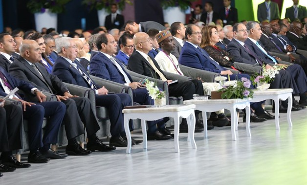 President Abdel Fatah al-Sisi participating in a session at the World Youth Forum held in Sharm El-Sheikh, Monday November 7, 2017 - Press photo
