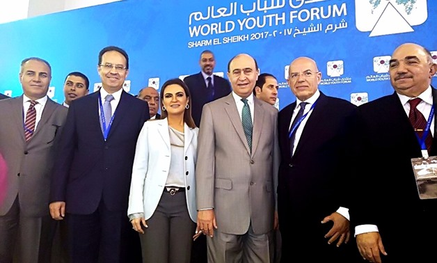 Minister of Investment and International Cooperation Sahr Nasr, Head of SCZone Mohab Mamish among a number of participants at the World Youth Forum in Sharm El-Sheikh- Press Photo