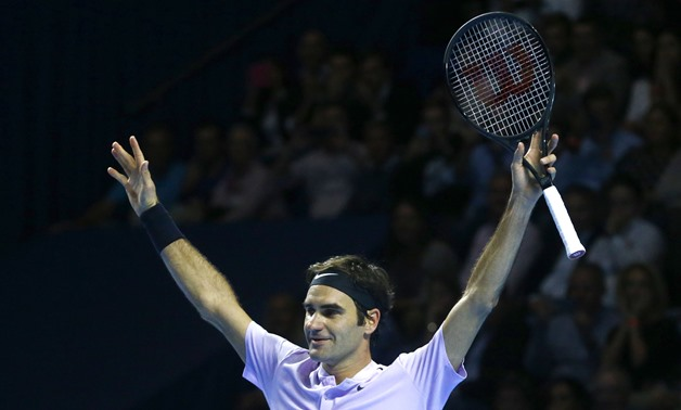 Tennis - Swiss Indoors Basel - Final - St. Jakobshalle, Basel, Switzerland - October 29, 2017 - Roger Federer of Switzerland celebrates after winning the match against Juan Martin del Potro of Argentina. REUTERS/Arnd Wiegmann