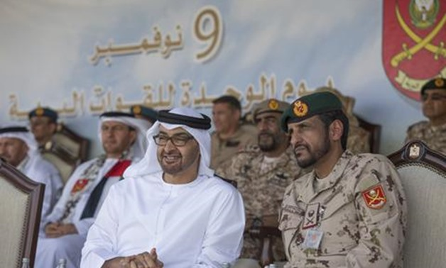 Sheikh Mohammed bin Zayed, Crown Prince of Abu Dhabi and Deputy Supreme Commander of the UAE Armed Forces and other UAE leaders attend the 26th Anniversary Ground Forces unification celebrations at Zayed Military City in Abu Dhabi - THE NATIONAL