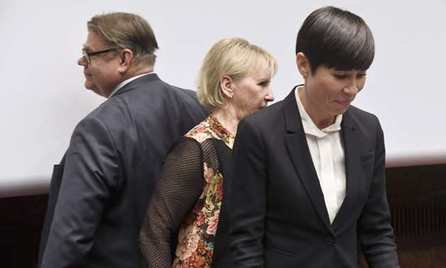Finland's Minister for Foreign Affairs Timo Soini, Sweden's Minister for Foreign Affairs Margot Wallstrom and Norway's Minister of Foreign Affairs Ine Eriksen Soreide attend a news conference of Nordic Foreign Ministers in Helsinki - REUTERS