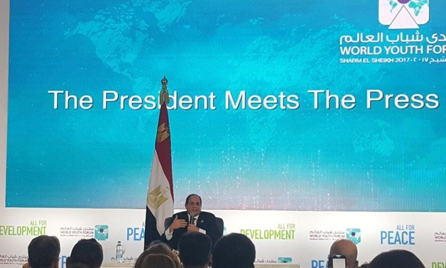 Egyptian President Abdel Fatah al-Sisi during the press conference with local and international media reporters - photo by Egypttoday