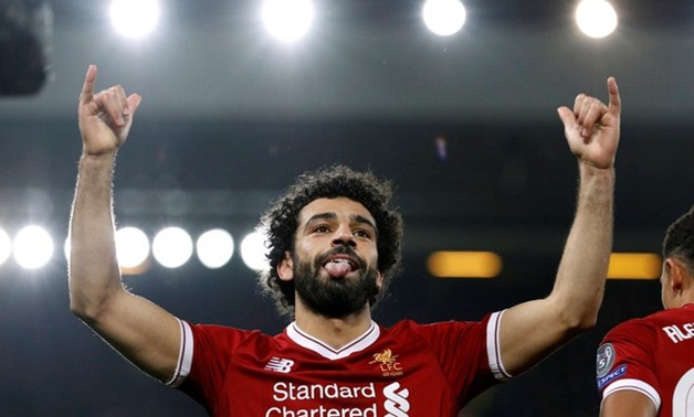 Champions League - Liverpool vs NK Maribor - Anfield, Liverpool, Britain - November 1, 2017 Liverpool's Mohamed Salah celebrates scoring their first goal - REUTERS