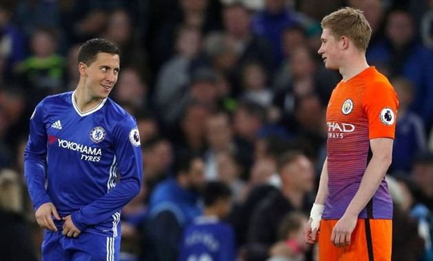 Eden Hazard from Chelsea (left) with Kevin de Bruyne from Manchester City (right), espnfc.com