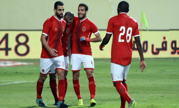 Al Ahly players celebrate scoring the fourth goal against Telephonat - Egypt Today