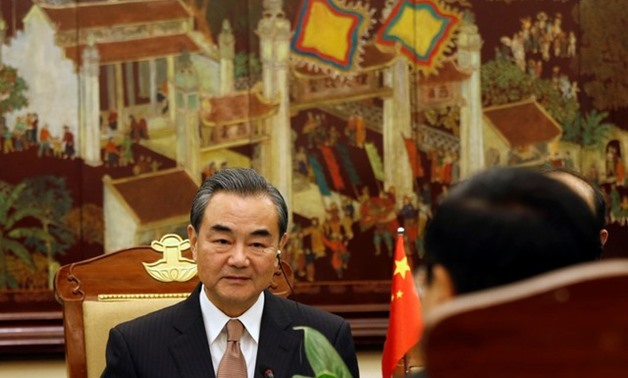 China's Foreign Minister Wang Yi (L) attends a meeting with Vietnam's Deputy Prime Minister and Foreign Minister Pham Binh Minh at the Government Office in Hanoi, Vietnam November 2, 2017. REUTERS/Kham