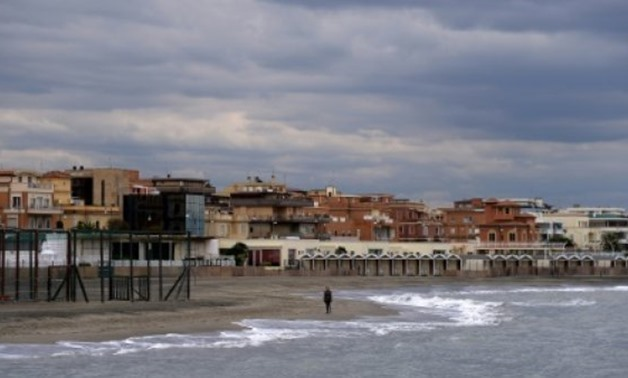 Ostia Lido in Ostia, on the outskirts of Rome,under gloomy skies on Friday - AFP