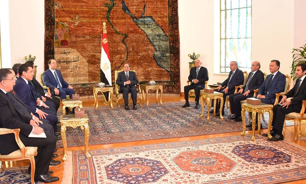 Sisi meets with Tunisian Prime Minister Youssef Chahed in the presence of Prime Minister Sherif Ismail and a number of ministers and senior officials from both sides – Press Photo
