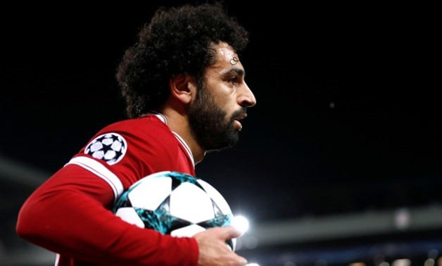 Soccer Football - Champions League - Liverpool vs NK Maribor - Anfield, Liverpool, Britain - November 1, 2017 Liverpool's Mohamed Salah with the match ball Action Images via Reuters/Carl Recine