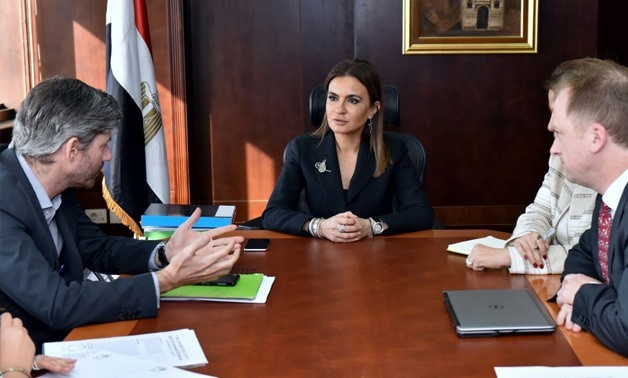 Minister of Investment Sahar Nasr meeting with ILO director in Egypt Peter Van Rooij- Press Photo