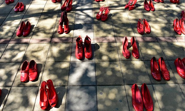 40 pairs of red shoes placed in front of the Serbian Government's building as a reminder that more than 40 women are killed every year by their intimate partner in the country, November 15 - Photo courtesy of UN Women