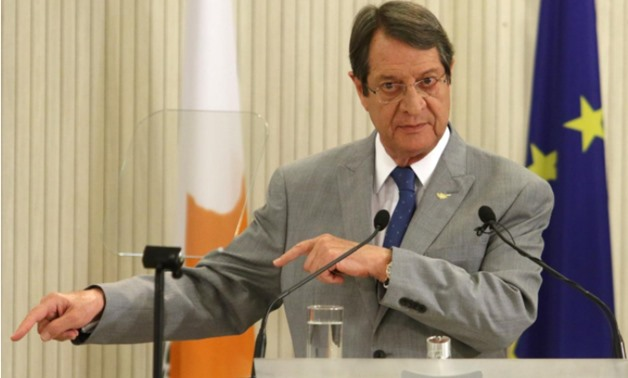 Cypriot President Nicos Anastasiades talks during a news conference at the Presidential Palace in Nicosia, Cyprus July 10, 2017 - REUTERS/Yiannis Kourtoglou