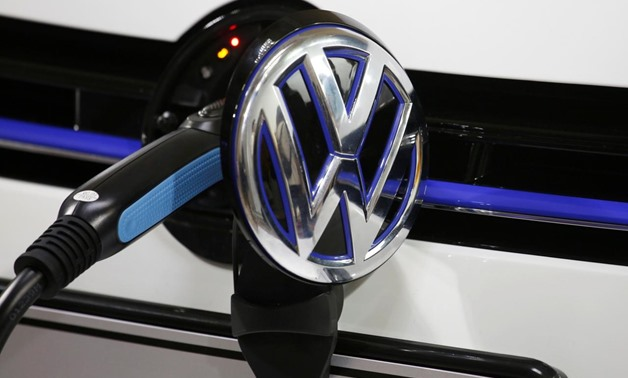 A Volkswagen Golf GTE is being charged during a workshop prior to Auto Guangzhou in Guangzhou, China November 16, 2017. REUTERS/Bobby Yip