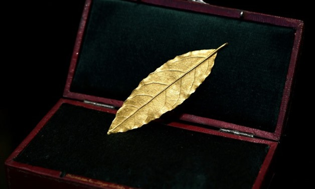 A gold laurel leaf from the coronation crown of Emperor Napoleon I -AFP