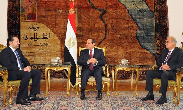 President Abdel-Fatah al-Sisi received Prime Minister Saad Hariri in Cairo on March 22, 2017- Press Photo