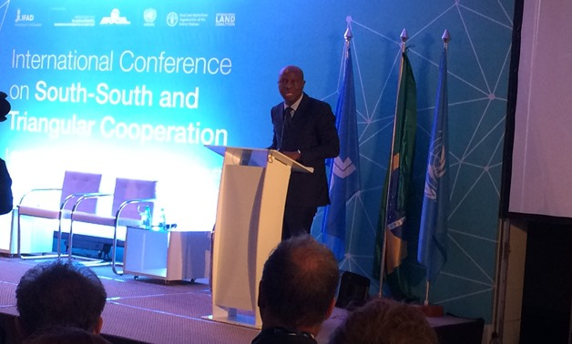 President of IFAD Gilbert F. Houngbo speaks at the South South and Triangular Cooperation conference in Brasilia- Egypt Today/Samar Samir
