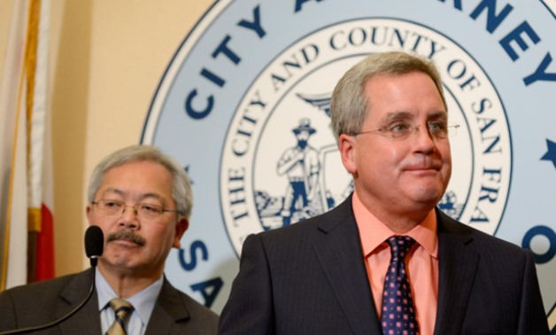 San Francisco City Attorney Dennis Herrera and Mayor Ed Lee announce they have filed a lawsuit against President Donald Trump for his unconstitutional executive order targeting sanctuary cities during a news conference at city hall in San Francisco, Calif