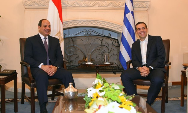 Press Photo : Egyptian President Abdel Fattah al-Sisi and Greek Prime Minister Alexis Tsipras in Nicosia, Cyprus November 21, 2017