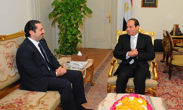 President Abdel Fatah al-Sisi with Lebanese Prime Minister and Leader of the Future Movement, Saad Al Hariri in Cairo on March 8, 2015- Press Photo