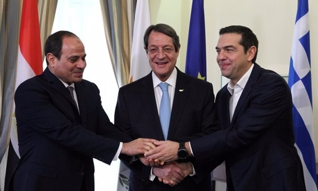 Egyptian President Abdel Fattah al-Sisi, Greek Prime Minister Alexis Tsipras, and Cypriot President Nicos Anastasiades during a meeting in Nicosia, Cyprus November 21, 2017 - REUTERS_Yiannis Kourto