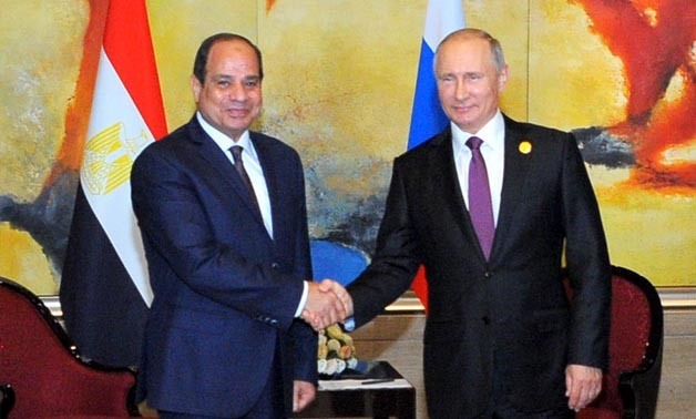 President Abdel Fattah al-Sisi during his meeting with Russian counterpart Vladimir Putin in china - press photo
