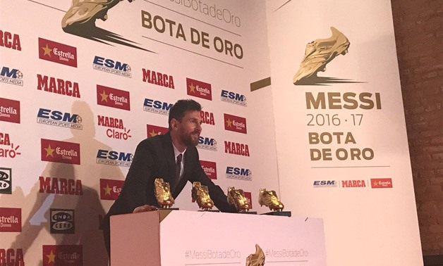Lionel Messi with his four Golden Boots - Courtesy of the FC Barcelona official Twitter account