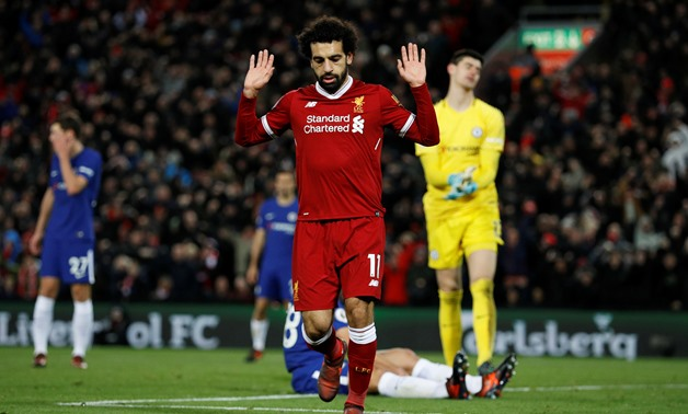 Soccer Football - Premier League - Liverpool vs Chelsea - Anfield, Liverpool, Britain - November 25, 2017 Liverpool's Mohamed Salah celebrates scoring their first goal - REUTERS/Phil Noble