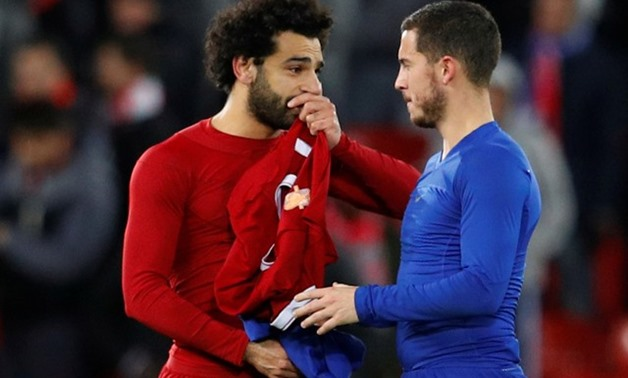 Soccer Football - Premier League - Liverpool vs Chelsea - Anfield, Liverpool, Britain - November 25, 2017 Liverpool's Mohamed Salah speaks with Chelsea's Eden Hazard after the match REUTERS/Phil Noble
