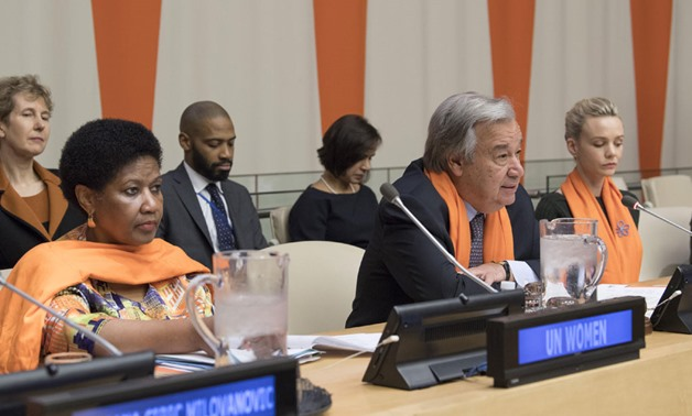 Ms. Phumzile Mlambo-Ngcuka, Executive Director of UN Women and Secretary-General Antonio Guterres participate in the 2017 United Nations Official Commemoration of the International Day for the Elimination of Violence against Women - UN Photo/Eskinder Debe