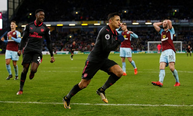 Soccer Football - Premier League - Burnley vs Arsenal - Turf Moor, Burnley, Britain - November 26, 2017 Arsenal's Alexis Sanchez celebrates scoring their first goal - REUTERS/Andrew Yates