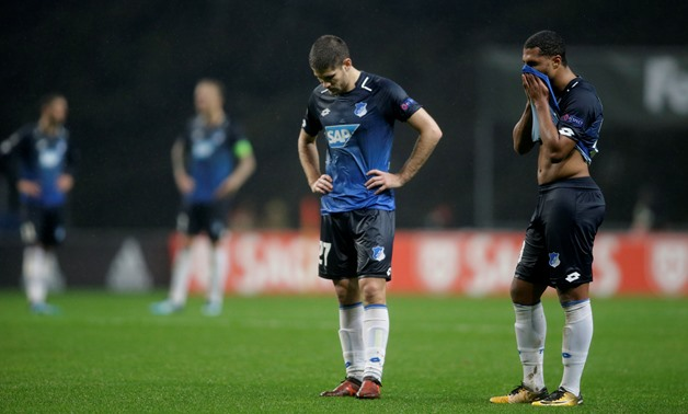 Soccer Football - Europa League - S.C. Braga vs 1899 Hoffenheim - Estadio Municipal de Braga, Braga, Portugal - November 23, 2017 Hoffenheim's Serge Gnabry and Andrej Kramaric look dejected REUTERS/Miguel Vidal