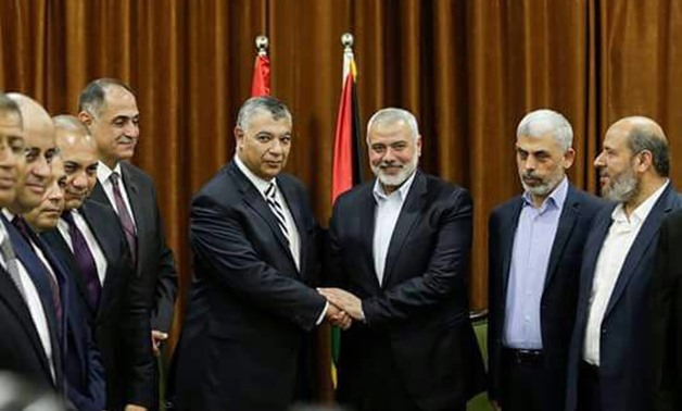 Hamas Leader Ismail Haniyeh receives Egypt's Intelligence Chief Khaled Fawzy in Gaza on October 3, 2017- Press Photo