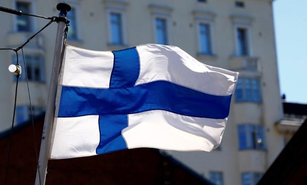 Finland's flag flutters in Helsinki, Finland, May 3, 2017 -