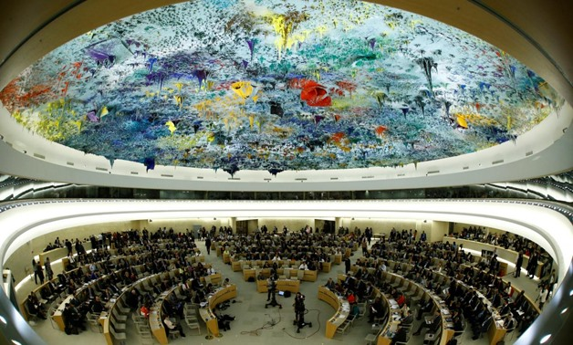 Overview of the United Nations Human Rights Council is seen in Geneva, Switzerland June 6, 2017. Picture taken with a fisheye lens. REUTERS/Denis Balibouse