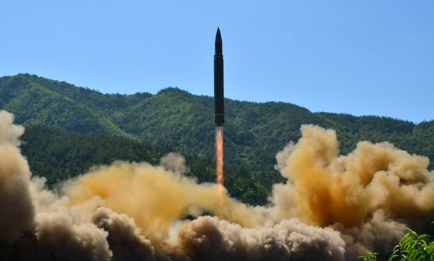 The intercontinental ballistic missile Hwasong-14 is seen during its test in this undated photo released by KCNA in Pyongyang - REUTERS