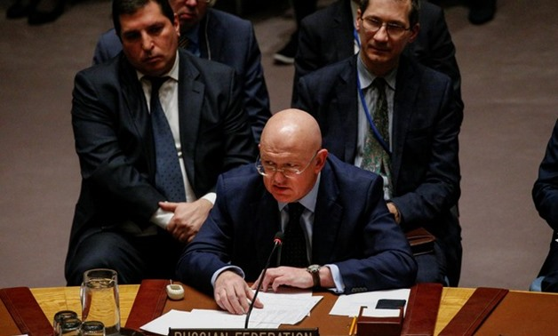 Russian Ambassador to the United Nations Vasily Nebenzya addresses the United Nations Security Council about an international inquiry into chemical weapons attacks in Syria, during a meeting at the United Nations headquarters in New York, U.S., November 1
