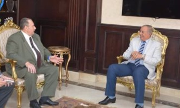 FILE - Romanian Ambassador to Cairo Mihai Ștefan Stuparu meets with the Red Sea governor Ahmed Abdullah