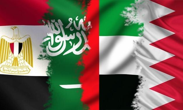 FILE - Flags of the Anti-Terrorism Quartet (ATQ) of Egypt, Saudi Arabia, the UAE and Bahrain
