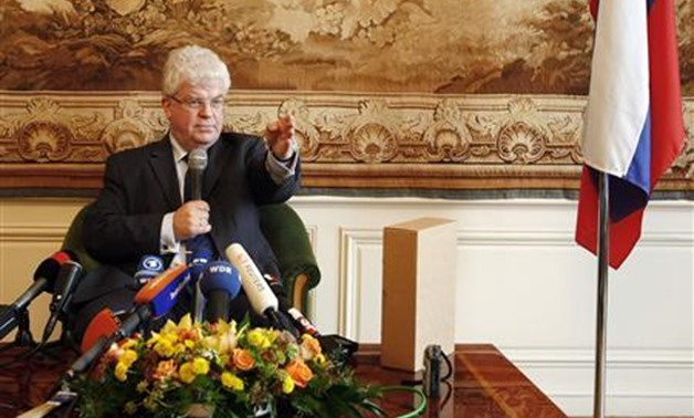 Russia's envoy to the European Union in Brussels Vladimir Chizhov holds a news conference in Brussels, September 30, 2009, on an EU-sponsored report on the late war between Russia and Georgia. REUTERS/Yves Herman