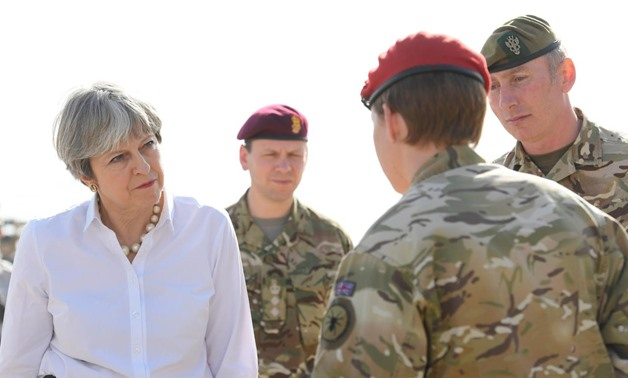 Britain's Prime Minister Theresa May meets British troops and watches training of Iraqi security forces at the Camp Taji military base near Baghdad, Iraq, November 29, 2017. REUTERS/Toby Melville