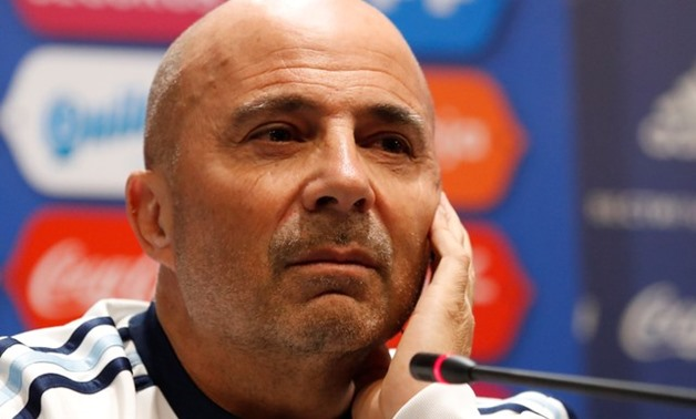 Soccer Football - International Friendly - Argentina news conference - Luzhniki stadium, Moscow, Russia - November 10, 2017 Argentina's coach Jorge Sampaoli attends a news conference ahead of their friendly match against Russia. REUTERS/Maxim Shemetov