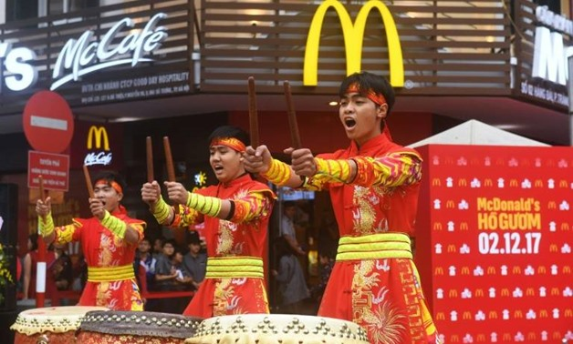 The global fast food chain received a warm welcome in Hanoi as hungry diners crammed into the two-storey eatery for a first taste of the Golden Arches