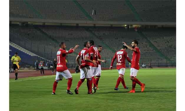 Al-Ahly players celebrate Saad Samir's goal - Photo courtesy of Egypt Today, Hossam Atef