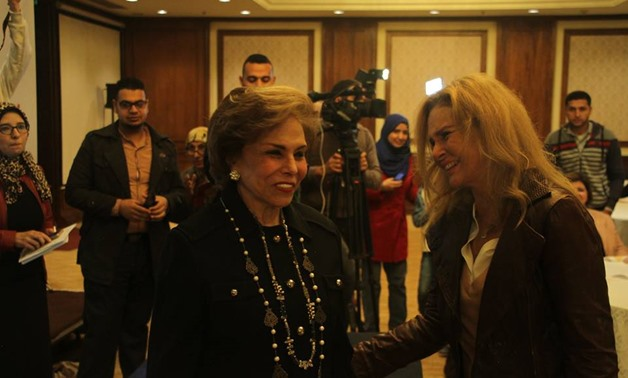 "Mervat el-Tallawy and Yousra at the seminar, ""Mechanisms of Combating Violence Against Women,"" on Sunday, December 3 – photo courtesy of Arab Women Organisation Facebook Official Page"
