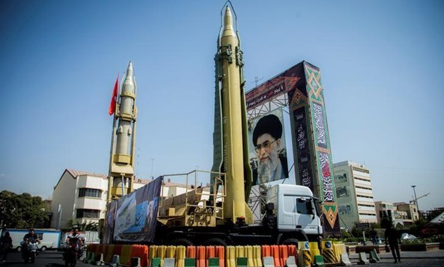 A display featuring missiles and a portrait of Iran's Supreme Leader Ayatollah Ali Khamenei is seen at Baharestan Square in Tehran, Iran September 27, 2017. Nazanin Tabatabaee Yazdi/TIMA/File Photo via REUTERS