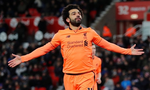 Soccer Football - Premier League - Stoke City vs Liverpool - bet365 Stadium, Stoke-on-Trent, Britain - November 29, 2017 Liverpool's Mohamed Salah celebrates scoring their second goal REUTERS/Eddie Keogh
