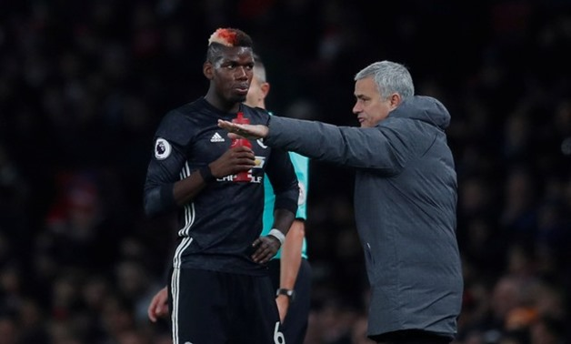 Soccer Football – Premier League – Arsenal vs Manchester United – Emirates Stadium, London, Britain, December 2, 2017, Manchester United manager Jose Mourinho with Paul Pogba Action Images – Reuters/Andrew Couldridge